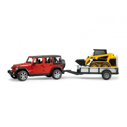 Bruder 02925 Jeep Wrangler Unlimited Rubicon, One Axle Trailer + CAT SKid