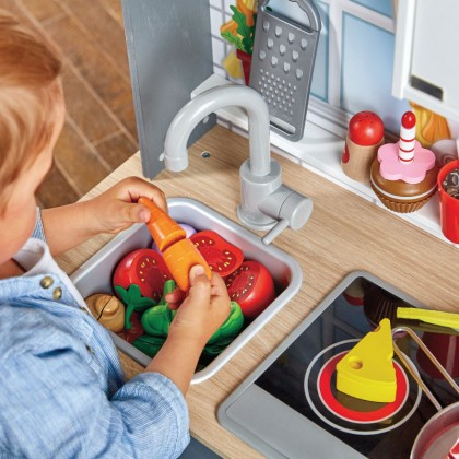 Hape 3166 Light & Sounds Kitchen Role Play Toy for Kids age 3+ (Free Apron)