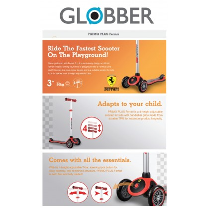 Globber G440152  Primo Plus Ferrari Scooter for Kids age 3+ up to 50 kg