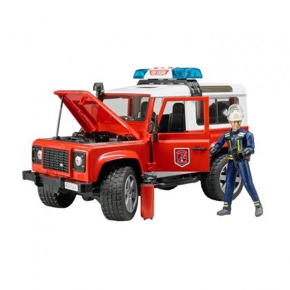 Bruder 02596 Land Rover Fire Department Vehicle with Fireman