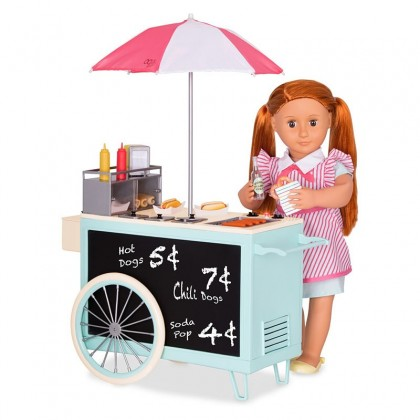 "Our Generation 67040 Retro Hot Dog Cart For 18"" Doll suitable for Kids age 3+"