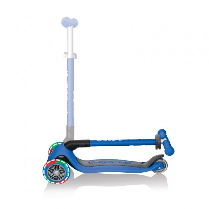 Globber 432100-2 Primo Foldable Lights Scooter for kids age 3+ up to 50 kg~ Navy Blue with Anodized T-bar