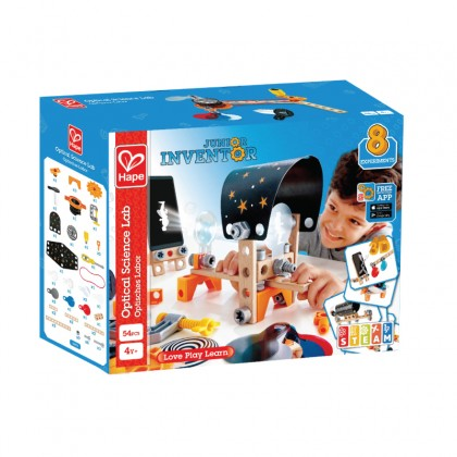 Hape Junior Inventor Optical Science Lab | 53 Piece STEAM Wooden Playset, Experiments & Reactions Science Kit for Kids 4+ Years