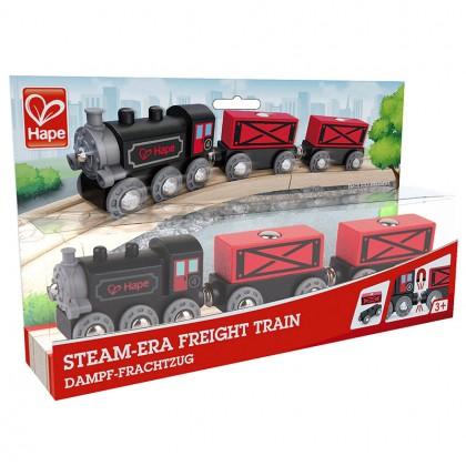 Hape E3717 Steam-Era Freight Train for Railway Play set for Kids age 3+