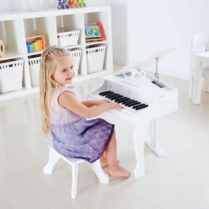 Hape E0338 Deluxe Grand Piano - White