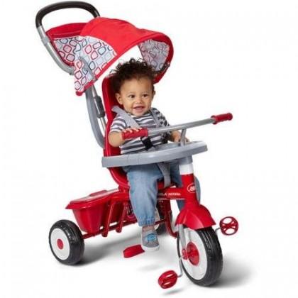 Radio Flyer RF449 Ez Quick Fold Stroll 'N Trike Sturdy Steel Frame 4 Ways to Ride Children's Red Trike
