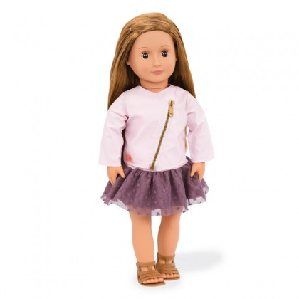 Our Generation BD31101Z Regular Doll with Pink Leather Jacket - Vieanna